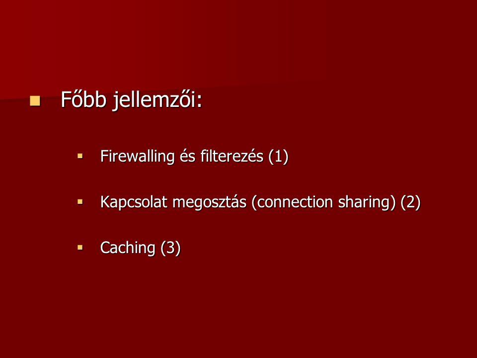 Főbb jellemzői: Főbb jellemzői:  Firewalling és filterezés (1)  Kapcsolat megosztás (connection sharing) (2)  Caching (3)