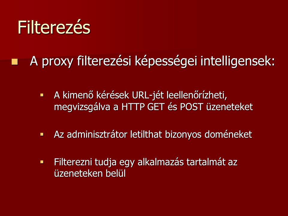 Filterezés A proxy filterezési képességei intelligensek: A proxy filterezési képességei intelligensek:  A kimenő kérések URL-jét leellenőrízheti, meg