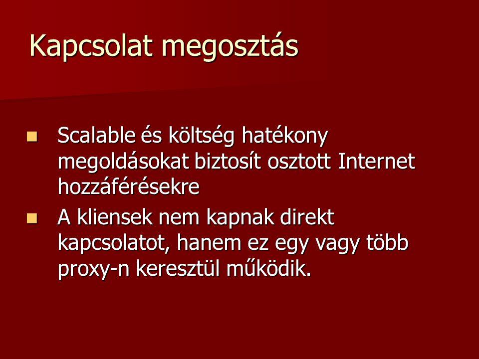 Kapcsolat megosztás Scalable és költség hatékony megoldásokat biztosít osztott Internet hozzáférésekre Scalable és költség hatékony megoldásokat bizto