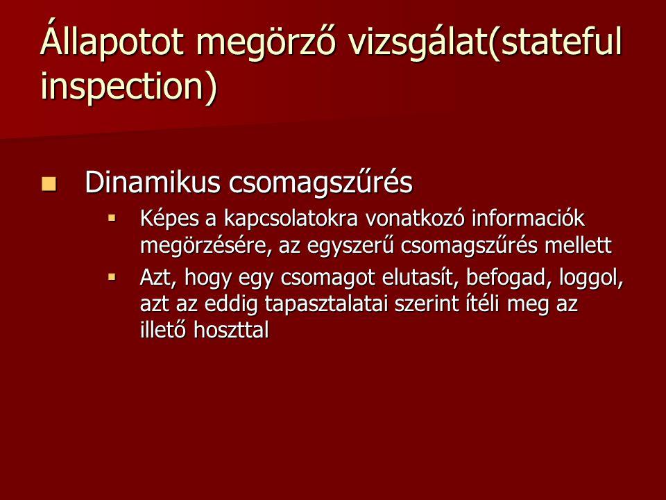 Állapotot megörző vizsgálat(stateful inspection) Dinamikus csomagszűrés Dinamikus csomagszűrés  Képes a kapcsolatokra vonatkozó informaciók megörzésé