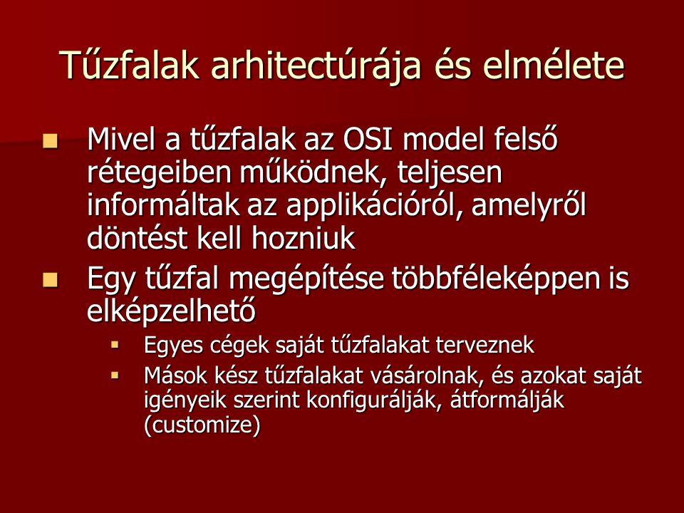 Tűzfalak arhitectúrája és elmélete Mivel a tűzfalak az OSI model felső rétegeiben működnek, teljesen informáltak az applikációról, amelyről döntést ke