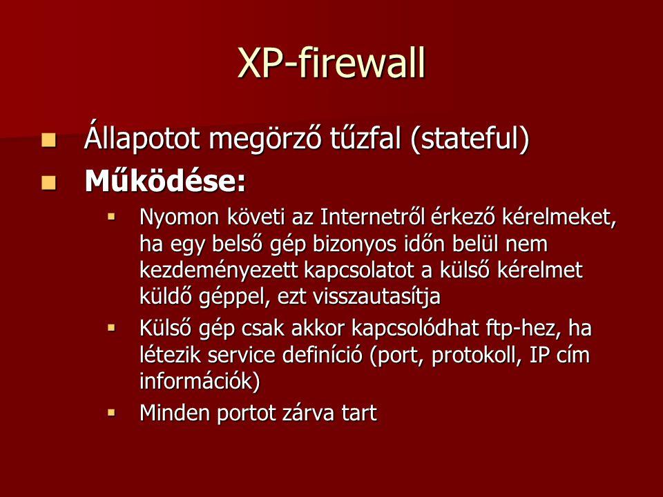 XP-firewall Állapotot megörző tűzfal (stateful) Állapotot megörző tűzfal (stateful) Működése: Működése:  Nyomon követi az Internetről érkező kérelmek