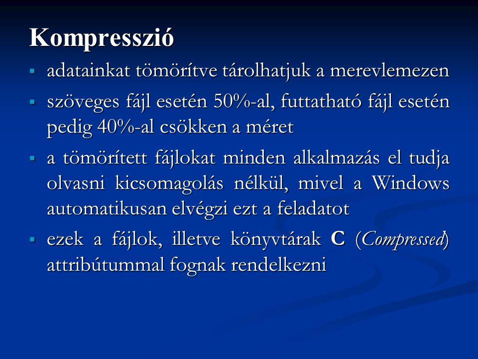 Kompresszió  adatainkat tömörítve tárolhatjuk a merevlemezen  szöveges fájl esetén 50%-al, futtatható fájl esetén pedig 40%-al csökken a méret  a t