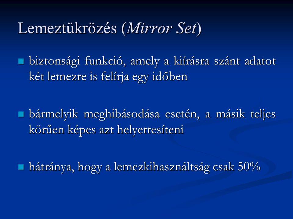 Lemeztükrözés (Mirror Set) biztonsági funkció, amely a kiírásra szánt adatot két lemezre is felírja egy időben biztonsági funkció, amely a kiírásra sz