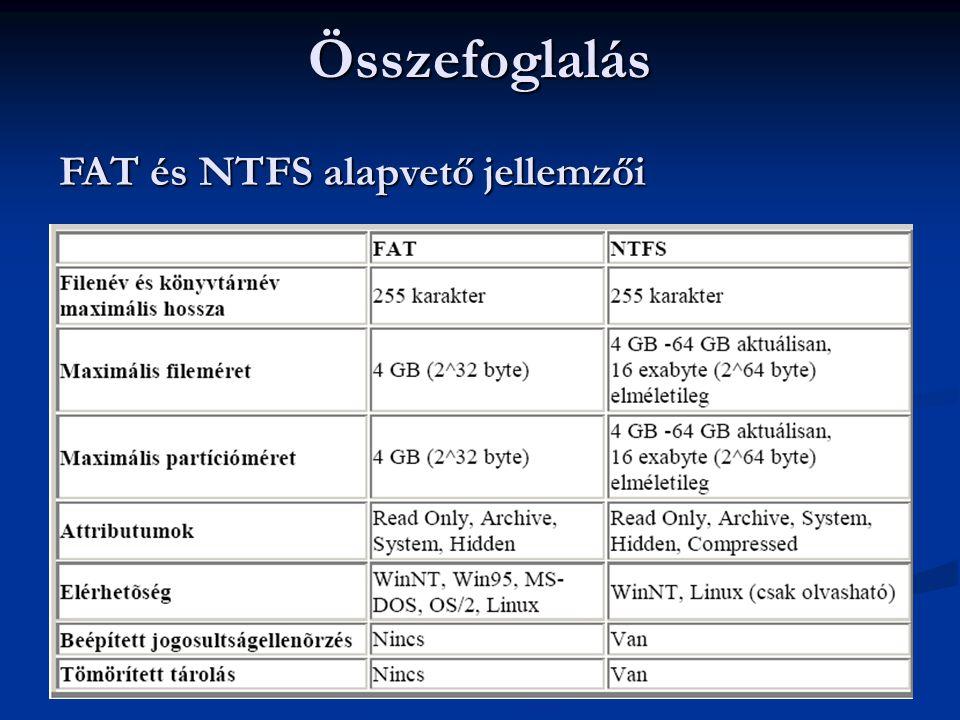 Összefoglalás FAT és NTFS alapvető jellemzői