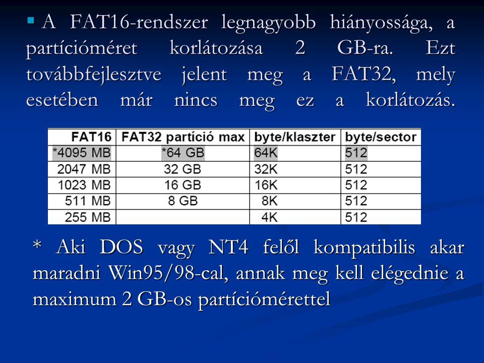  A FAT16-rendszer legnagyobb hiányossága, a partícióméret korlátozása 2 GB-ra. Ezt továbbfejlesztve jelent meg a FAT32, mely esetében már nincs meg e