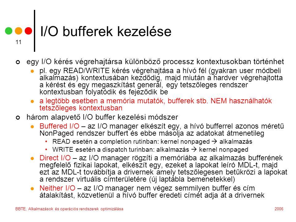 2006BBTE, Alkalmazások és operációs rendszerek optimizálása 11 I/O bufferek kezelése egy I/O kérés végrehajtársa különböző processz kontextusokban történhet pl.