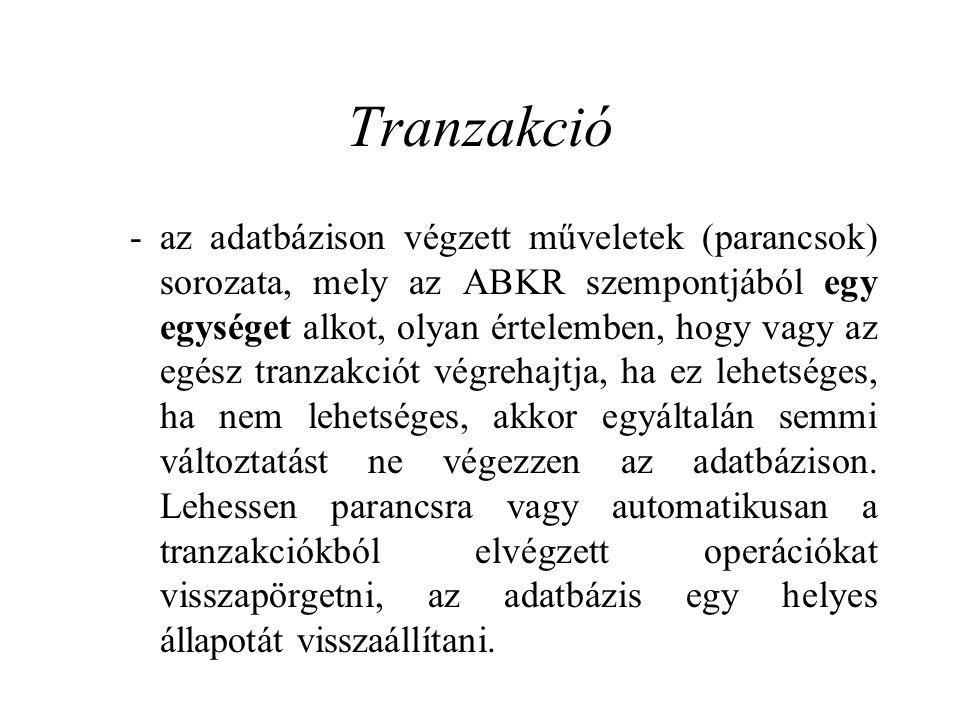 Tranzakció - az adatbázison végzett műveletek (parancsok) sorozata, mely az ABKR szempontjából egy egységet alkot, olyan értelemben, hogy vagy az egés