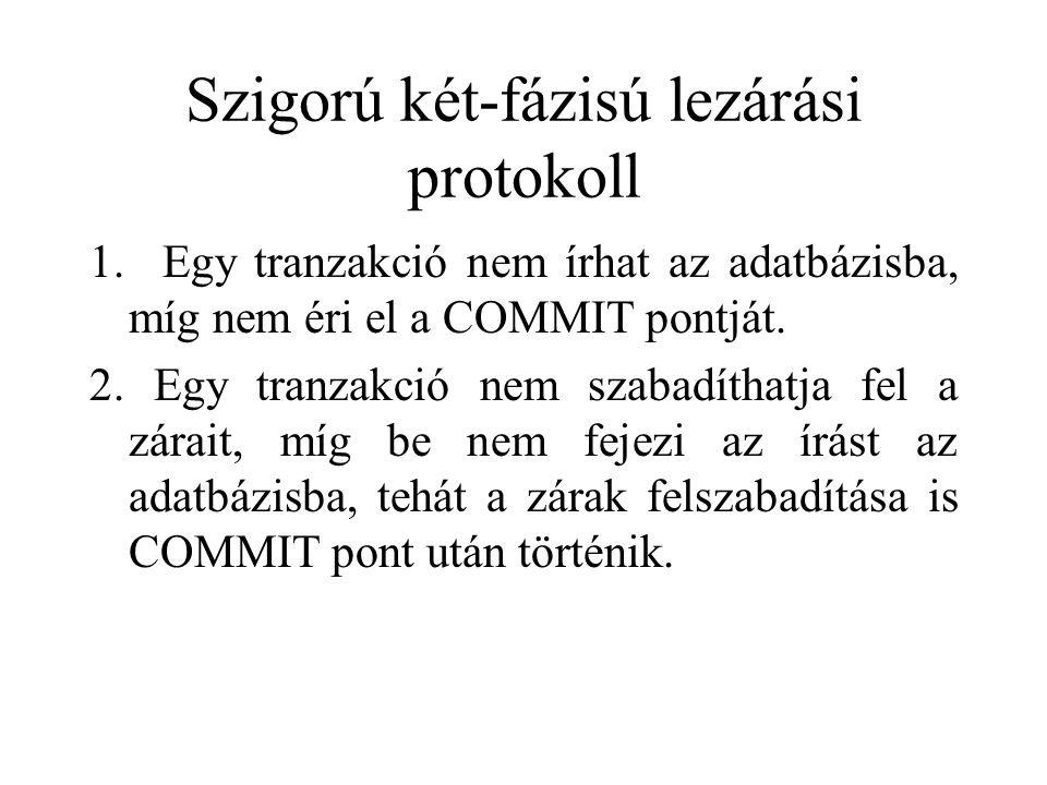 Szigorú két-fázisú lezárási protokoll 1. Egy tranzakció nem írhat az adatbázisba, míg nem éri el a COMMIT pontját. 2. Egy tranzakció nem szabadíthatja