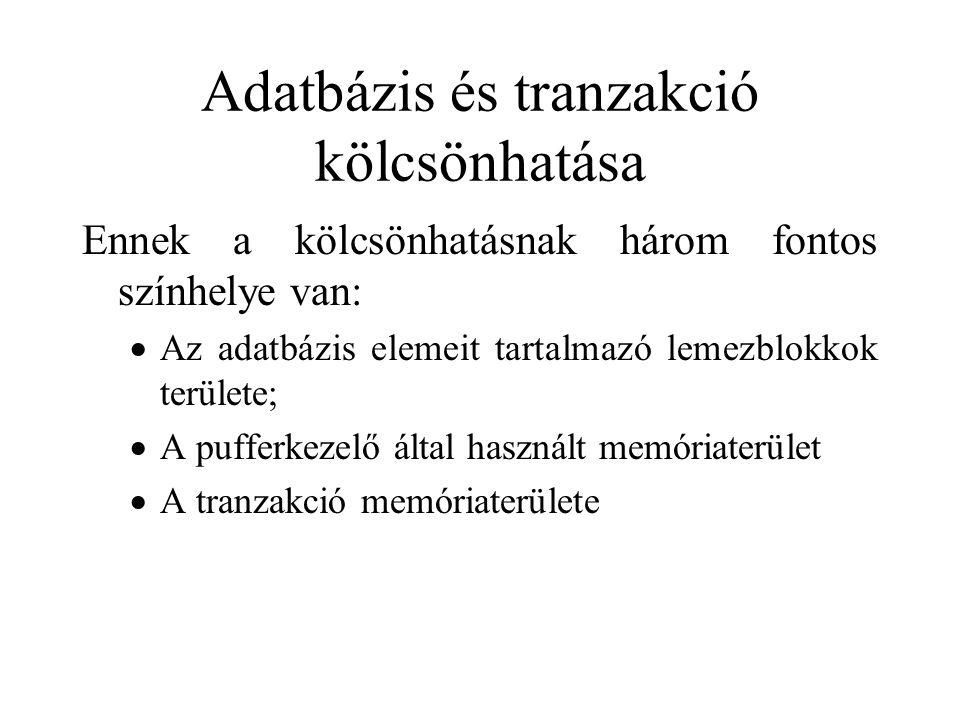 Jelölések –r i (X) - a T i tranzakció olvassa az X adatbáziselemet (r - read) –w i (X) - a T i tranzakció írja az X adatbáziselemet (w -write) –sl i (X) - a T i tranzakció osztott zárat kér az X-re –xl i (X) – a T i tranzakció kizárólagos zárat kér az X-re –u i (X) - a T i tranzakció feloldja (unlock) X adatbáziselemen tartott zárát.