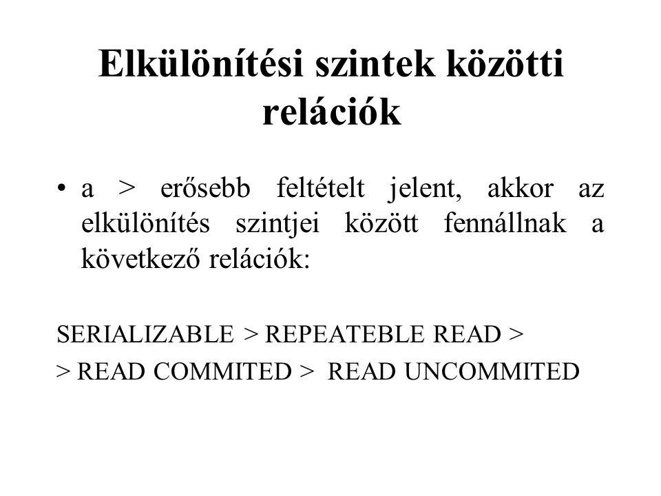 Elkülönítési szintek közötti relációk a > erősebb feltételt jelent, akkor az elkülönítés szintjei között fennállnak a következő relációk: SERIALIZABLE
