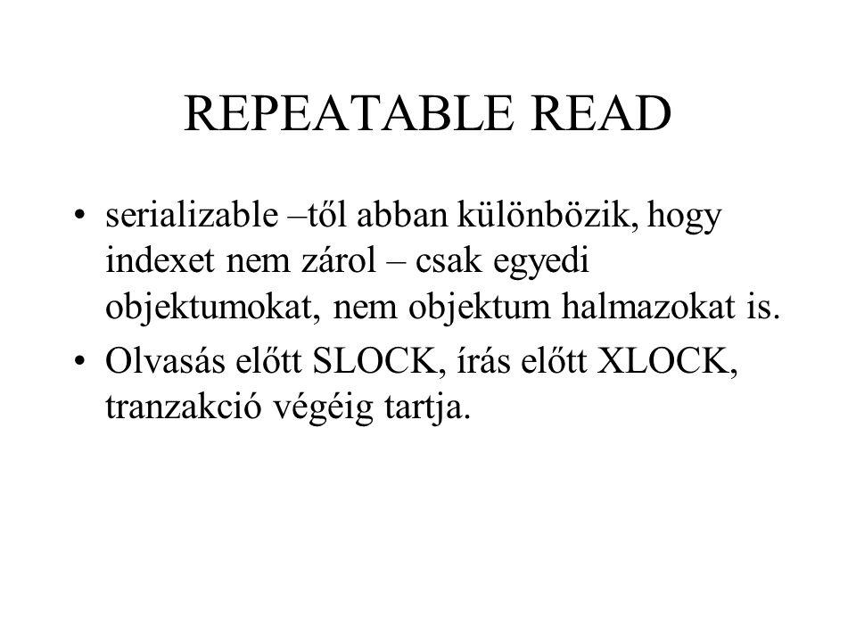 REPEATABLE READ serializable –től abban különbözik, hogy indexet nem zárol – csak egyedi objektumokat, nem objektum halmazokat is. Olvasás előtt SLOCK