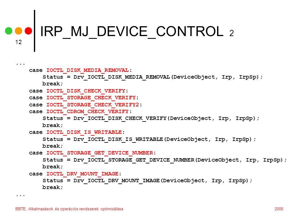 2006BBTE, Alkalmazások és operációs rendszerek optimizálása 12 IRP_MJ_DEVICE_CONTROL 2...