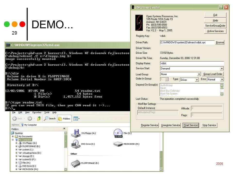 2006BBTE, Alkalmazások és operációs rendszerek optimizálása 29 DEMO...