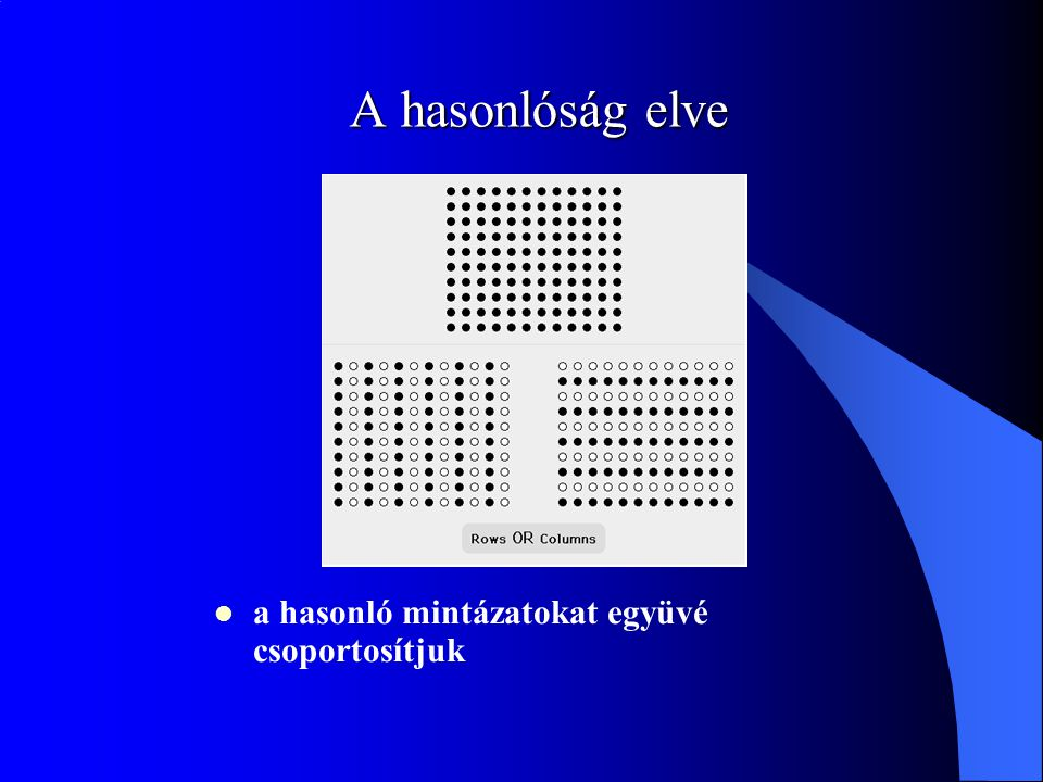 A hasonlóság elve a hasonló mintázatokat együvé csoportosítjuk