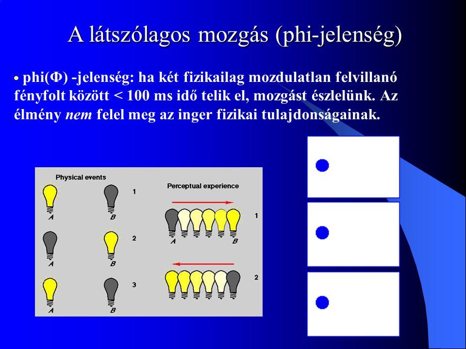 A látszólagos mozgás (phi-jelenség) phi(Φ) -jelenség: ha két fizikailag mozdulatlan felvillanó fényfolt között < 100 ms idő telik el, mozgást észlelün