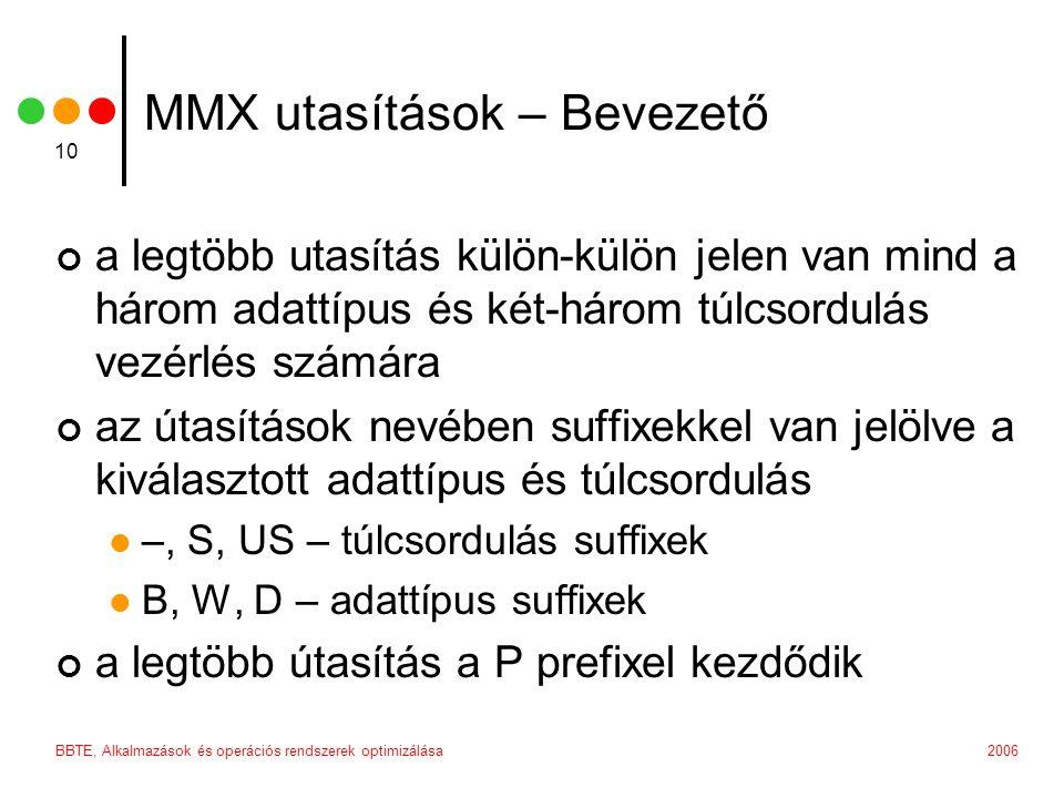 2006BBTE, Alkalmazások és operációs rendszerek optimizálása 10 MMX utasítások – Bevezető a legtöbb utasítás külön-külön jelen van mind a három adattíp