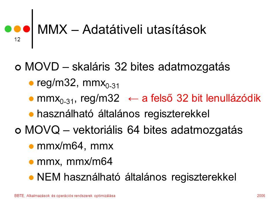 2006BBTE, Alkalmazások és operációs rendszerek optimizálása 12 MMX – Adatátiveli utasítások MOVD – skaláris 32 bites adatmozgatás reg/m32, mmx 0-31 mm