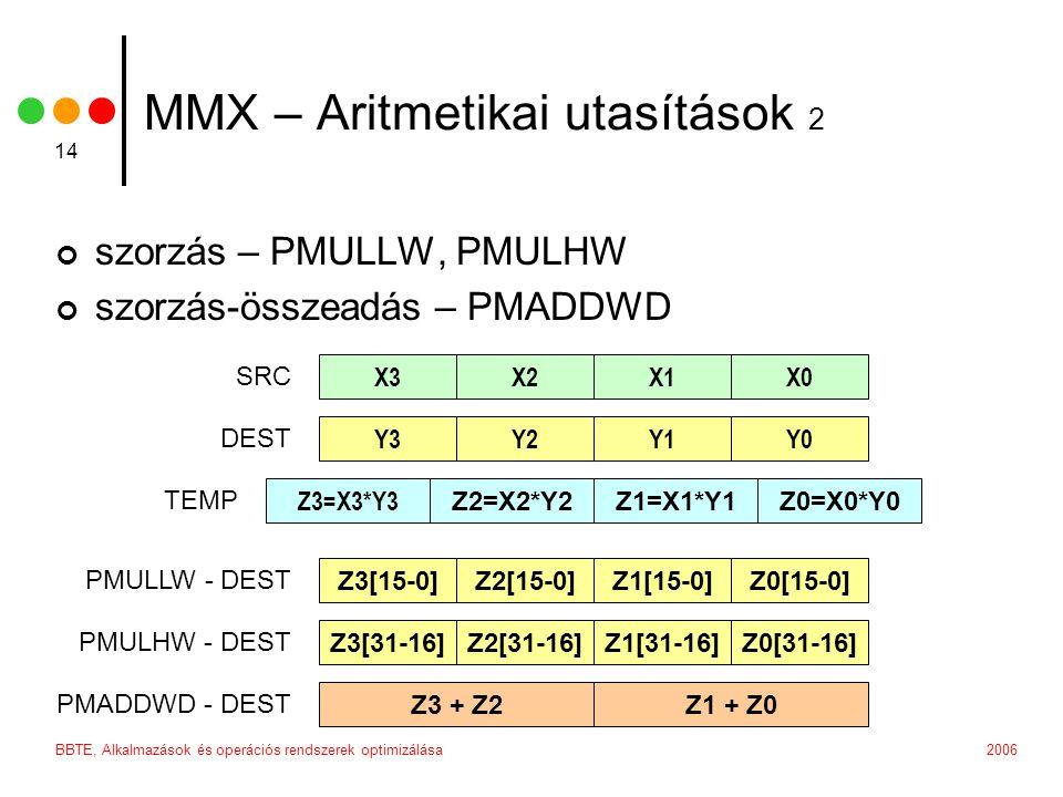 2006BBTE, Alkalmazások és operációs rendszerek optimizálása 14 MMX – Aritmetikai utasítások 2 szorzás – PMULLW, PMULHW szorzás-összeadás – PMADDWD X3X