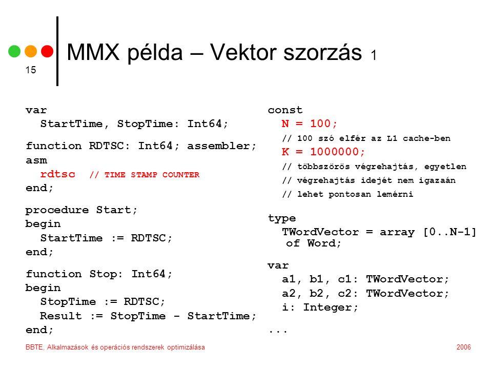 2006BBTE, Alkalmazások és operációs rendszerek optimizálása 15 MMX példa – Vektor szorzás 1 var StartTime, StopTime: Int64; function RDTSC: Int64; ass