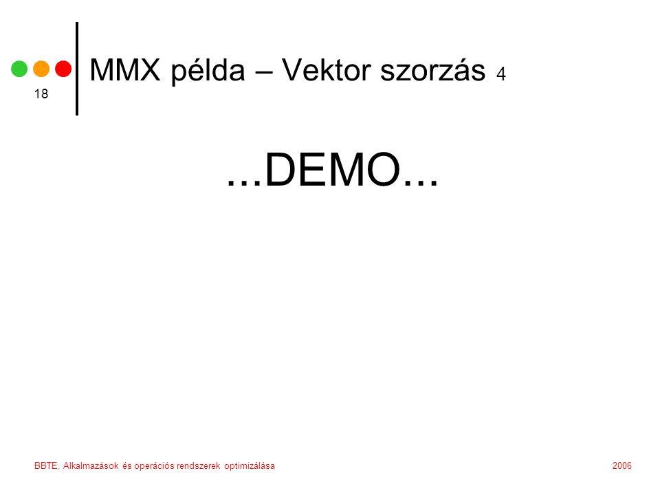 2006BBTE, Alkalmazások és operációs rendszerek optimizálása 18 MMX példa – Vektor szorzás 4...DEMO...