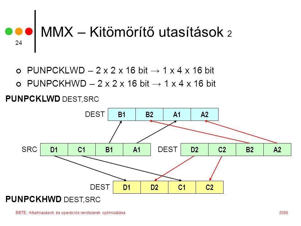 2006BBTE, Alkalmazások és operációs rendszerek optimizálása 24 MMX – Kitömörítő utasítások 2 PUNPCKLWD – 2 x 2 x 16 bit → 1 x 4 x 16 bit PUNPCKHWD – 2