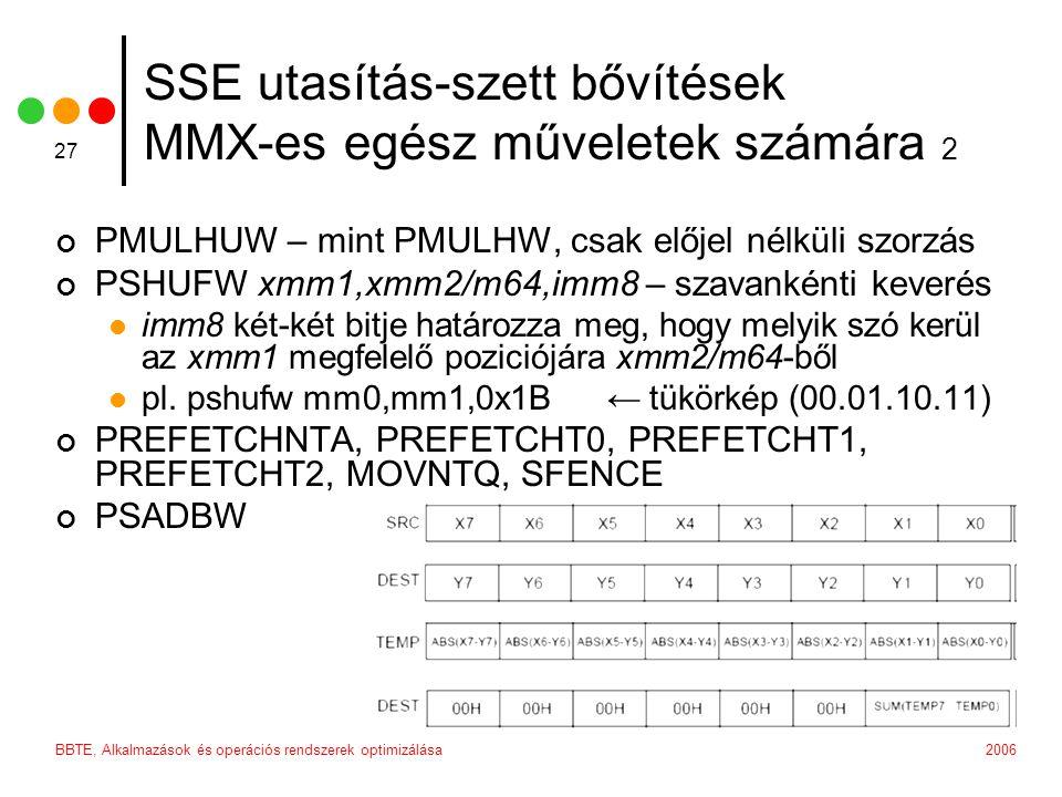 2006BBTE, Alkalmazások és operációs rendszerek optimizálása 27 SSE utasítás-szett bővítések MMX-es egész műveletek számára 2 PMULHUW – mint PMULHW, cs