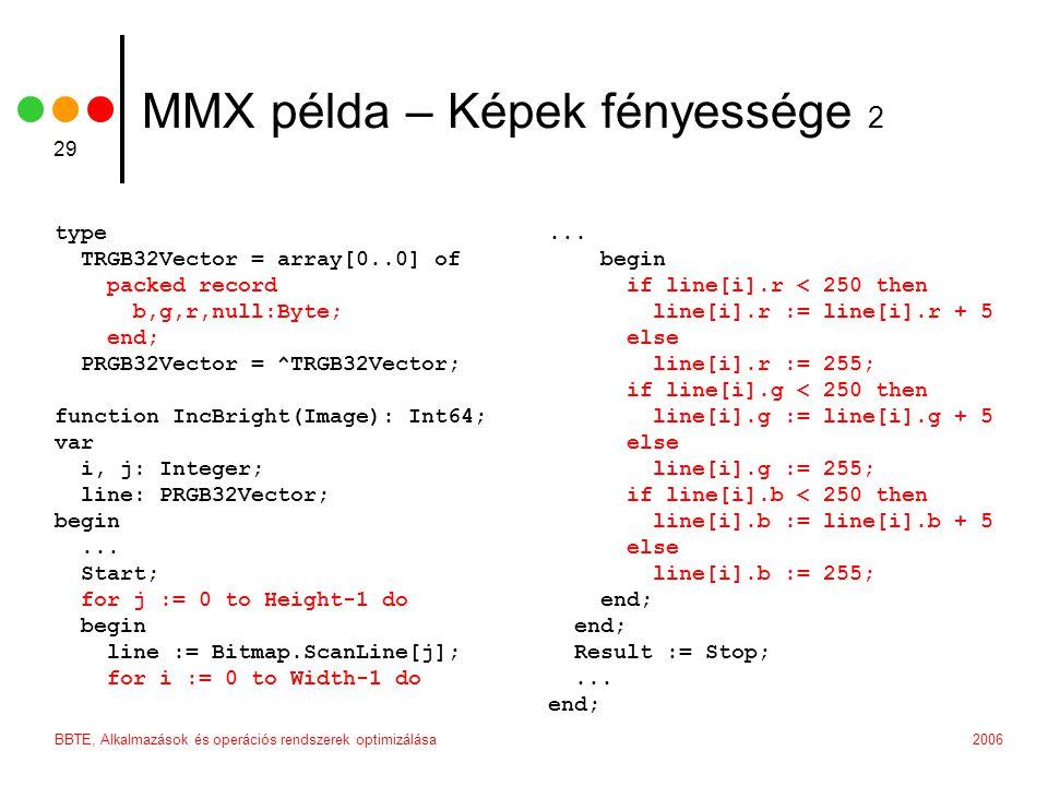 2006BBTE, Alkalmazások és operációs rendszerek optimizálása 29 MMX példa – Képek fényessége 2 type TRGB32Vector = array[0..0] of packed record b,g,r,n