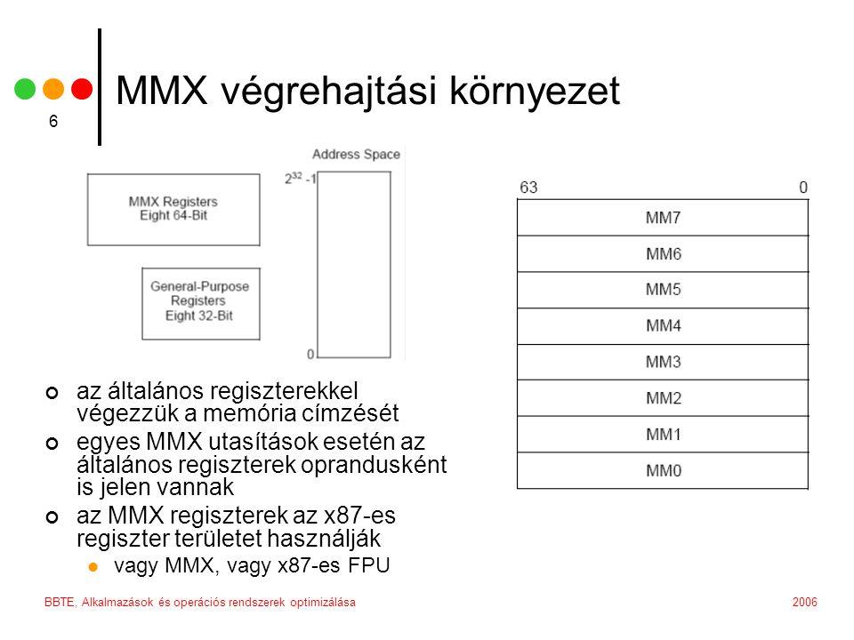 2006BBTE, Alkalmazások és operációs rendszerek optimizálása 6 MMX végrehajtási környezet az általános regiszterekkel végezzük a memória címzését egyes