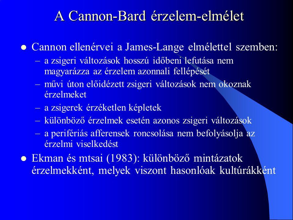 A Cannon-Bard érzelem-elmélet Cannon ellenérvei a James-Lange elmélettel szemben: –a zsigeri változások hosszú időbeni lefutása nem magyarázza az érze