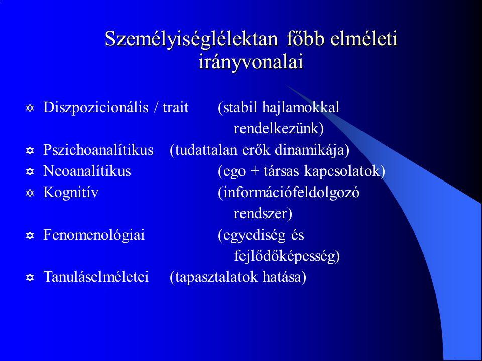Személyiséglélektan főbb elméleti irányvonalai Y Diszpozicionális / trait(stabil hajlamokkal rendelkezünk) Y Pszichoanalítikus (tudattalan erők dinamikája) Y Neoanalítikus (ego + társas kapcsolatok) Y Kognitív(információfeldolgozó rendszer) Y Fenomenológiai(egyediség és fejlődőképesség) Y Tanuláselméletei(tapasztalatok hatása)