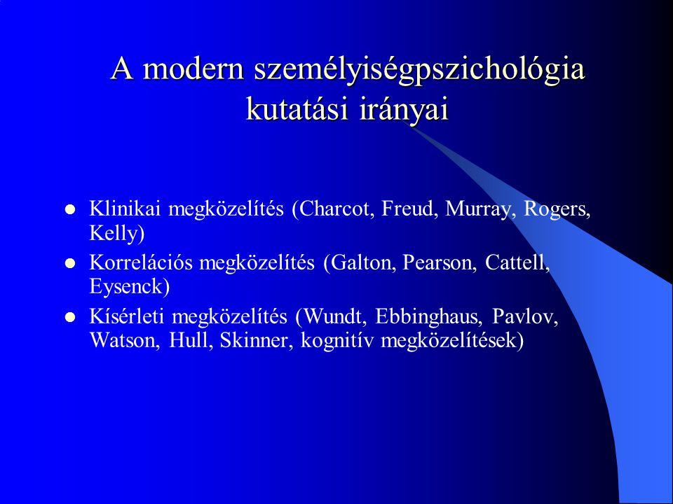 A modern személyiségpszichológia kutatási irányai Klinikai megközelítés (Charcot, Freud, Murray, Rogers, Kelly) Korrelációs megközelítés (Galton, Pearson, Cattell, Eysenck) Kísérleti megközelítés (Wundt, Ebbinghaus, Pavlov, Watson, Hull, Skinner, kognitív megközelítések)