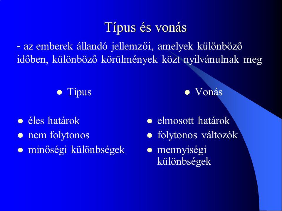 Típus és vonás Típus éles határok nem folytonos minőségi különbségek Vonás elmosott határok folytonos változók mennyiségi különbségek - az emberek állandó jellemzői, amelyek különböző időben, különböző körülmények közt nyilvánulnak meg