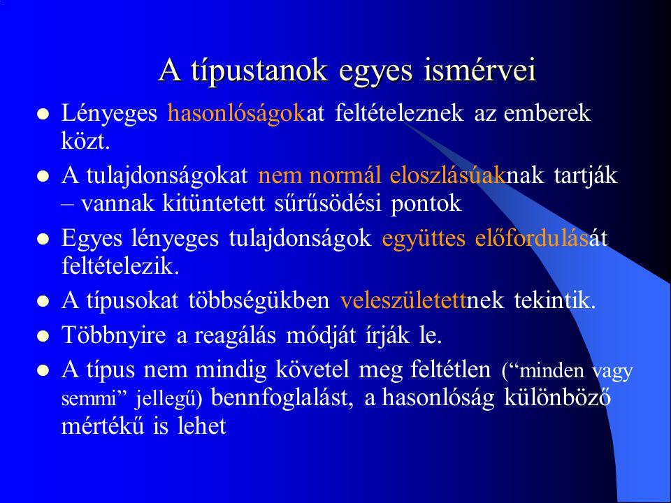 A típustanok egyes ismérvei Lényeges hasonlóságokat feltételeznek az emberek közt.