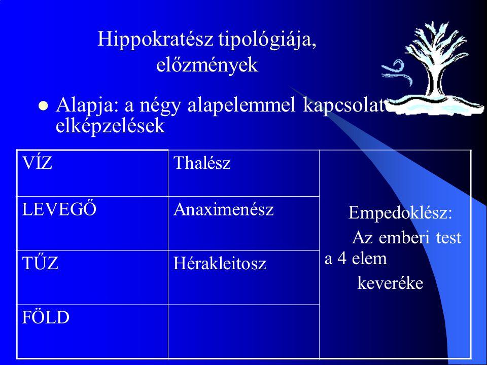 Hippokratész tipológiája, előzmények Alapja: a négy alapelemmel kapcsolatos elképzelések VÍZThalész Empedoklész: Az emberi test a 4 elem keveréke LEVEGŐAnaximenész TŰZHérakleitosz FÖLD