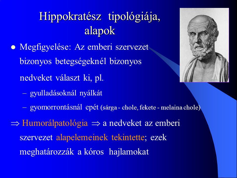 Hippokratész tipológiája, alapok Megfigyelése: Az emberi szervezet bizonyos betegségeknél bizonyos nedveket választ ki, pl.