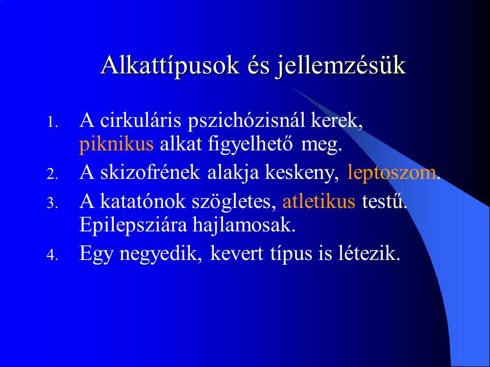 Alkattípusok és jellemzésük 1.A cirkuláris pszichózisnál kerek, piknikus alkat figyelhető meg.