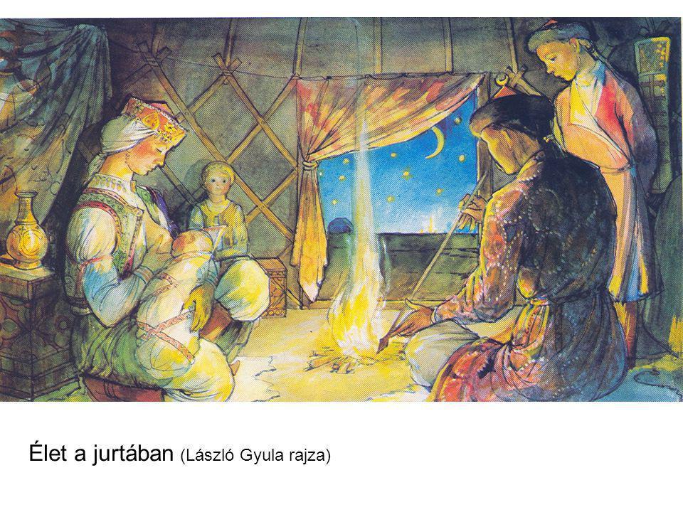 Élet a jurtában (László Gyula rajza)