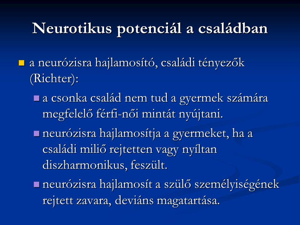 Neurotikus potenciál a családban a neurózisra hajlamosító, családi tényezők (Richter): a neurózisra hajlamosító, családi tényezők (Richter): a csonka