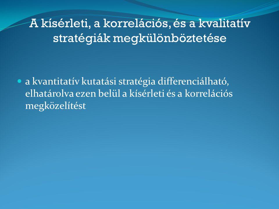 A kísérleti, a korrelációs, és a kvalitatív stratégiák megkülönböztetése a kvantitatív kutatási stratégia differenciálható, elhatárolva ezen belül a k