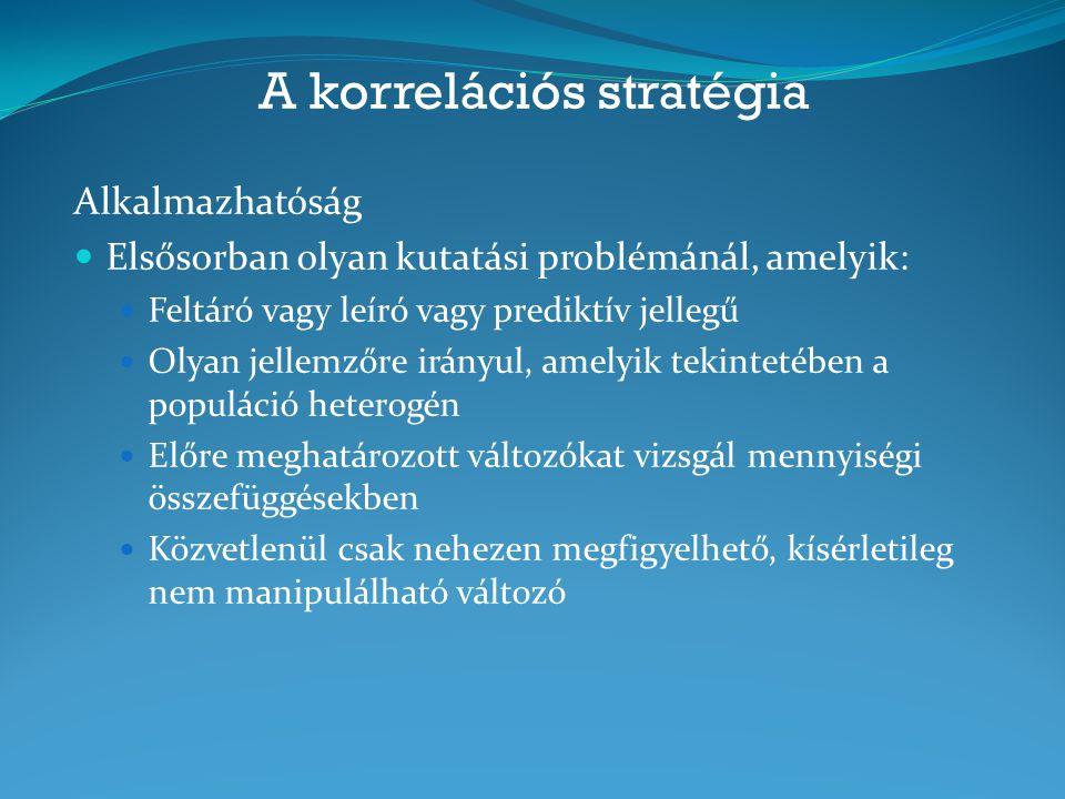 A korrelációs stratégia Alkalmazhatóság Elsősorban olyan kutatási problémánál, amelyik: Feltáró vagy leíró vagy prediktív jellegű Olyan jellemzőre irá