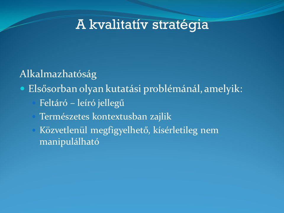 A kvalitatív stratégia Alkalmazhatóság Elsősorban olyan kutatási problémánál, amelyik: Feltáró – leíró jellegű Természetes kontextusban zajlik Közvetl
