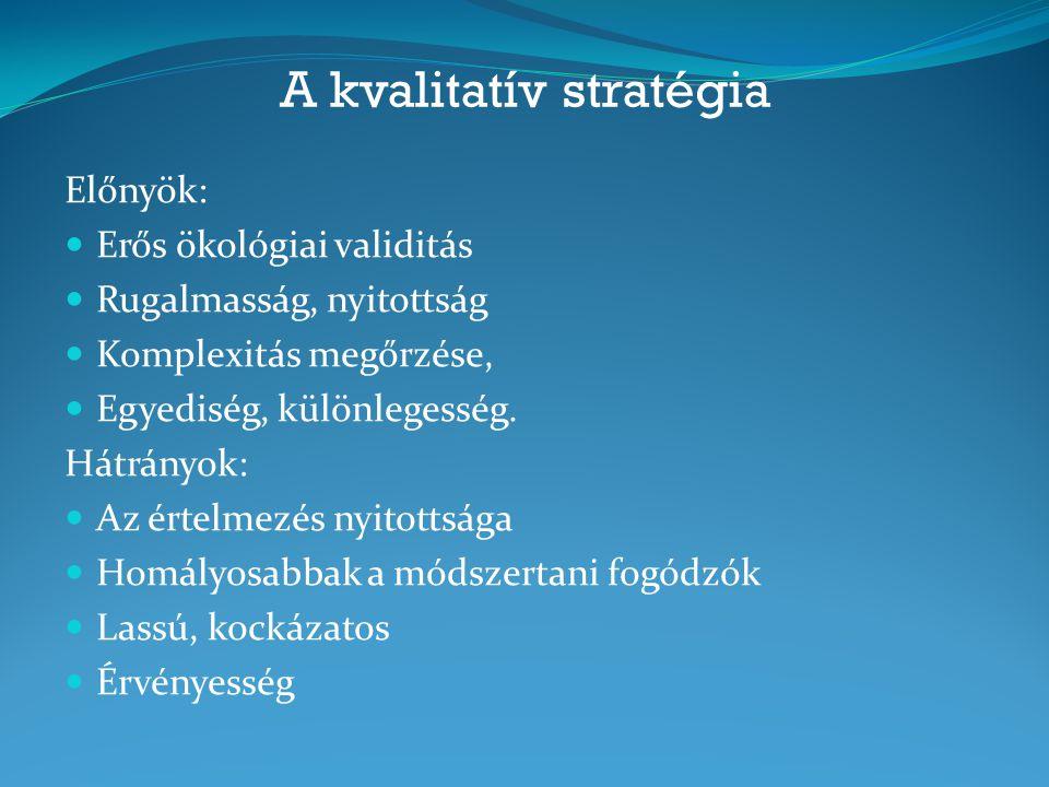 A kvalitatív stratégia Előnyök: Erős ökológiai validitás Rugalmasság, nyitottság Komplexitás megőrzése, Egyediség, különlegesség. Hátrányok: Az értelm