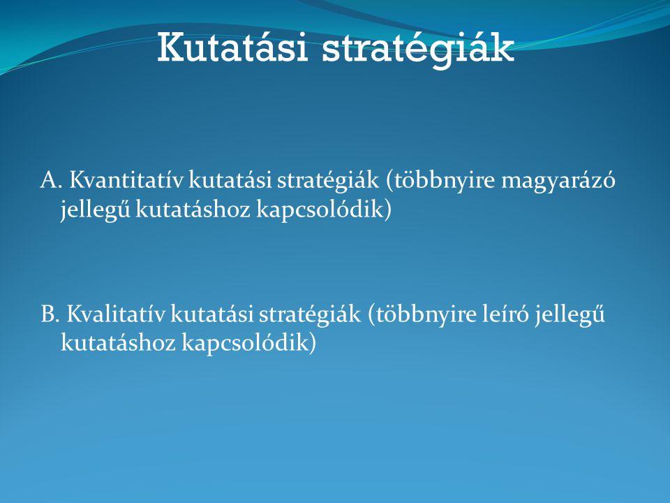 Kutatási stratégiák A. Kvantitatív kutatási stratégiák (többnyire magyarázó jellegű kutatáshoz kapcsolódik) B. Kvalitatív kutatási stratégiák (többnyi