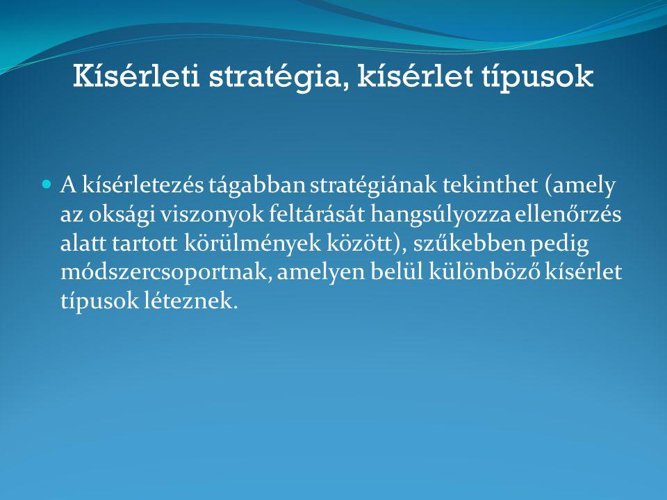 Kísérleti stratégia, kísérlet típusok A kísérletezés tágabban stratégiának tekinthet (amely az oksági viszonyok feltárását hangsúlyozza ellenőrzés ala