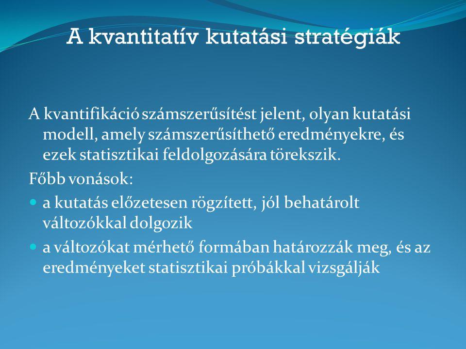 A kvantitatív kutatási stratégiák A kvantifikáció számszerűsítést jelent, olyan kutatási modell, amely számszerűsíthető eredményekre, és ezek statiszt