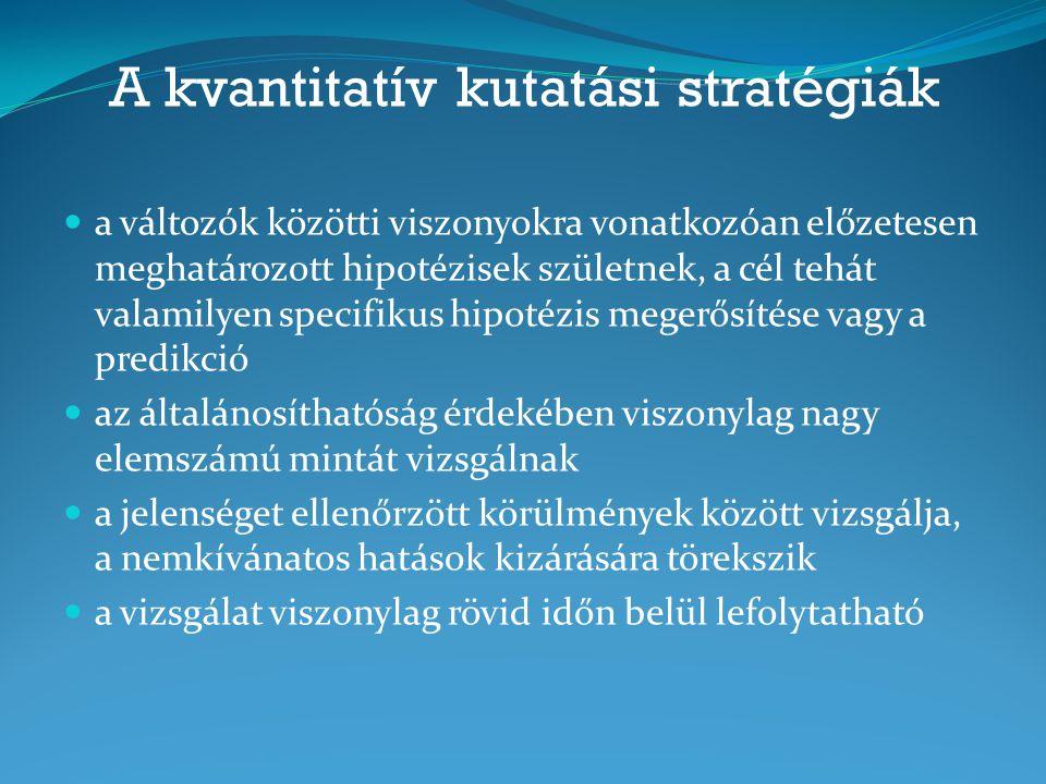 A kvantitatív kutatási stratégiák a változók közötti viszonyokra vonatkozóan előzetesen meghatározott hipotézisek születnek, a cél tehát valamilyen sp