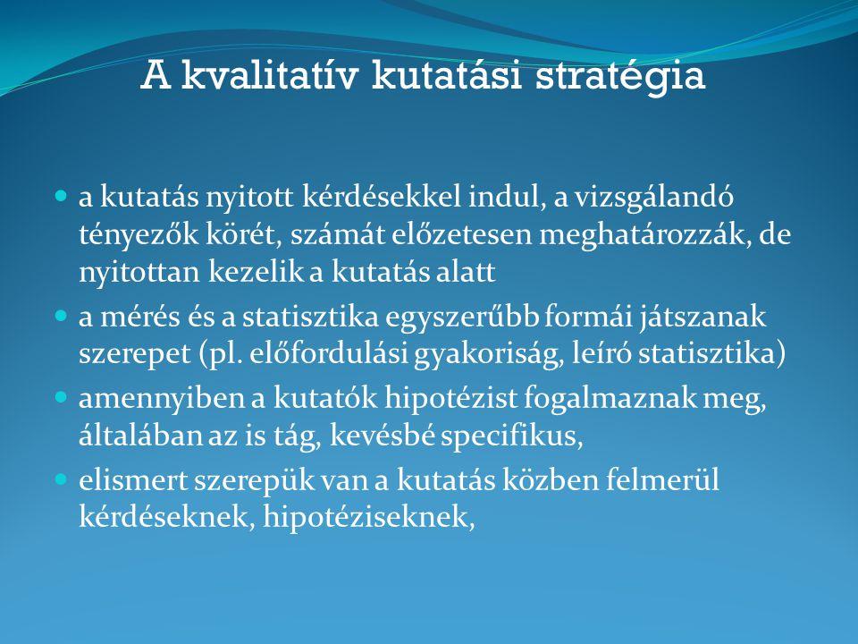 A kvalitatív kutatási stratégia a kutatás nyitott kérdésekkel indul, a vizsgálandó tényezők körét, számát előzetesen meghatározzák, de nyitottan kezel