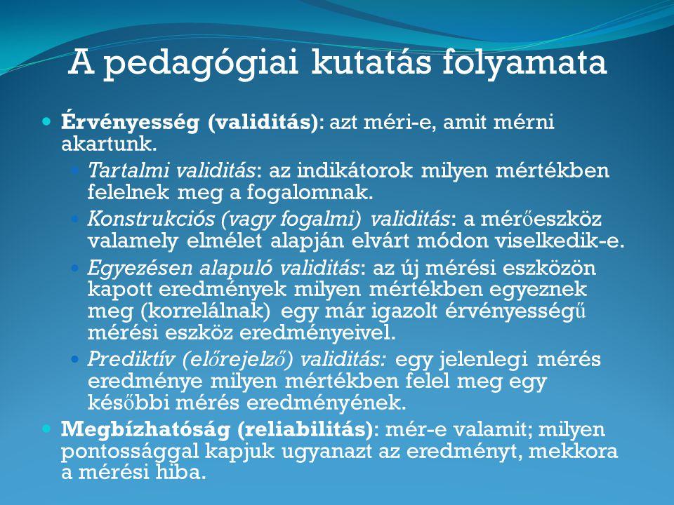 A pedagógiai kutatás folyamata Érvényesség (validitás): azt méri-e, amit mérni akartunk. Tartalmi validitás: az indikátorok milyen mértékben felelnek