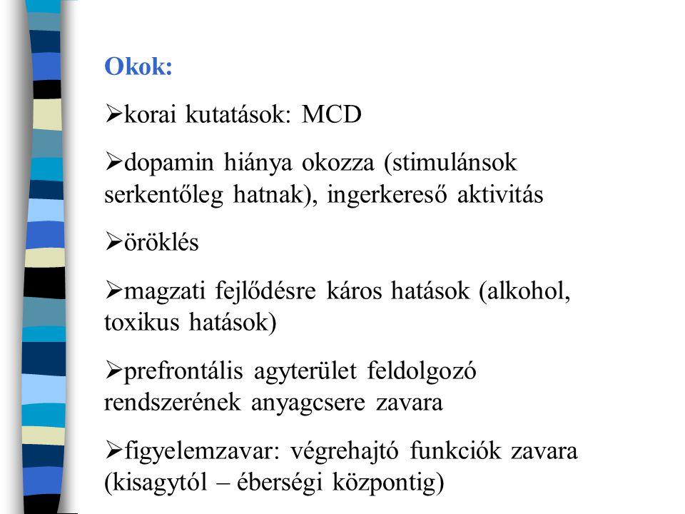 Okok:  korai kutatások: MCD  dopamin hiánya okozza (stimulánsok serkentőleg hatnak), ingerkereső aktivitás  öröklés  magzati fejlődésre káros hatások (alkohol, toxikus hatások)  prefrontális agyterület feldolgozó rendszerének anyagcsere zavara  figyelemzavar: végrehajtó funkciók zavara (kisagytól – éberségi központig)